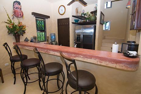Lunch counter at Alma Vida vacation rental villa on Punta Sur, Riviera Maya