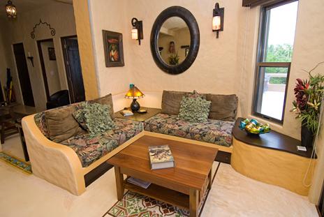 Living room of Alma de la Vida oceanfront rental villa near Akumal