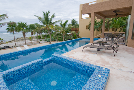 Pool and patio view of Alma Vida on Punta Sur, Riviera Maya, Akumal