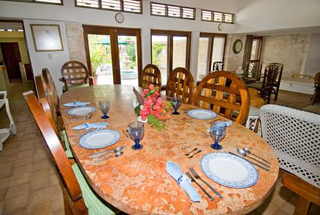 Dining room of Azul Riviera 4 BR Akumal vacation rental home