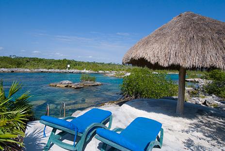 Palapa patio of Azul Riviera 4 BR Akumal vacation rental villa near Yalku lagoon