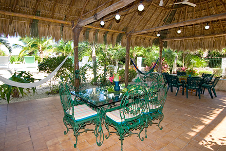 Palapa patio at Azul Riviera 4 BR Akumal vacation rental villa