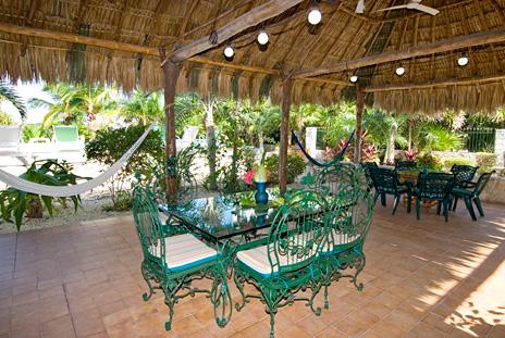 Palapa patio at Azul Riviera 4 BR Akumal vacation rental villa