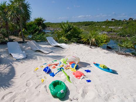 Sandy play area at Azul Riviera 4 BR Akumal vacation rental villa