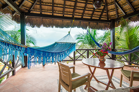 Second level patio at Casa Canciones vacation rental home on Soliman Bay