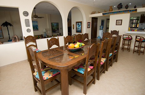 dining room of casa caribena vacation rental villa on tankah bay
