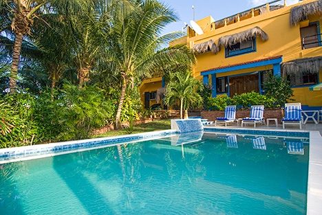 swimming pool of casa caribena vacation beach rental on tankah bay, riviera maya, mexico