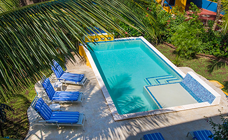 pool view at casa caribena vacation rental villa on tankah bay, riviera maya