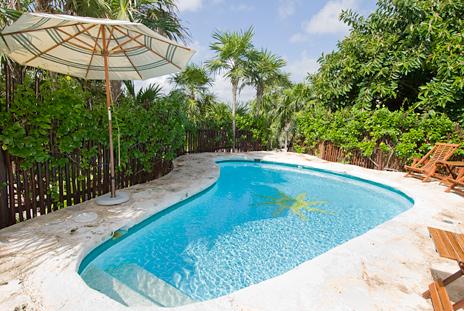 Private pool of Casa del Sol Akumal vacation rental villa