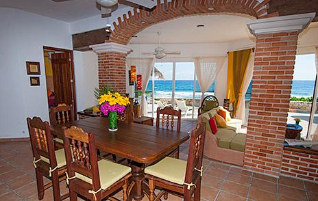 Dining room Casa Cascadas Akumal Mexico vacation rental villa