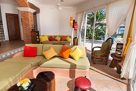 Living room Casa Cascadas Akumal Mexico vacation rental villa