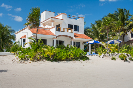 View of Casa Cavu 3 BR vacation rental villa on Tankah Bay on the Riviera Maya