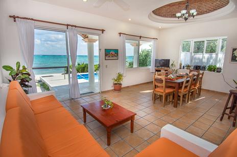 Living room of Casa Cavu vacation rental villa on Tankah Bay on the Riviera Maya