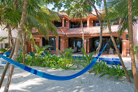 Hammocks beneath the palmas at Casa Cielo, Akumal Sur