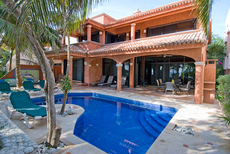 Swimming pool at Casa Cielo in on the ocean side of the home
