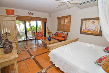 Master bedroom has ocean views at Casa Cielo