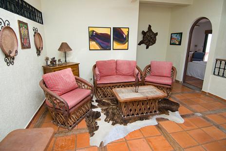 Casa Cielo second level studo area has TV