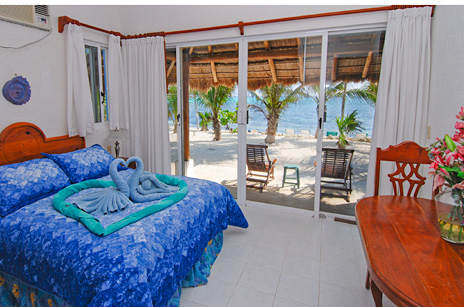 Bedroom #2 at Villa Tres Delfines 4 BR vacation rental villa on Soliman Bay, Riviera Maya