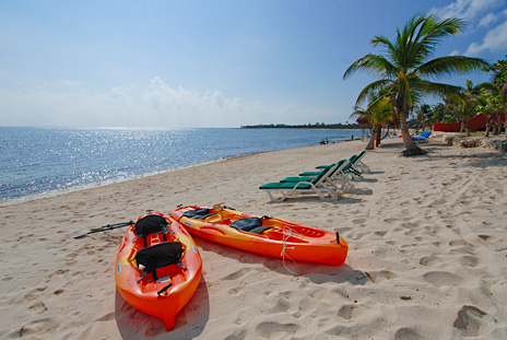 Take a cruise on Soliman Bay in these kayaks at Tres Delfines vacation rental home