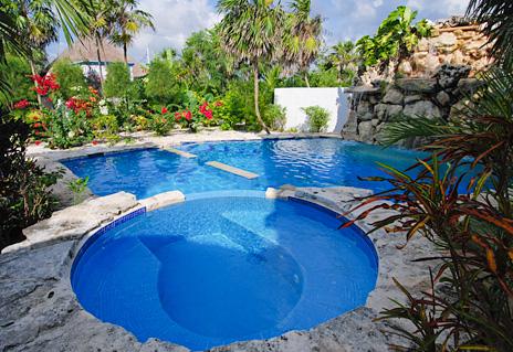 2 level swimming pool at Villa Tres Delfines 4 BR Soliman Bay vacation rental villa
