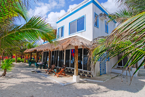 Oceanside view of Villa Tres Delfines 4 BR Soliman Bay vacation rental villa on the Riviera Maya, Mexico