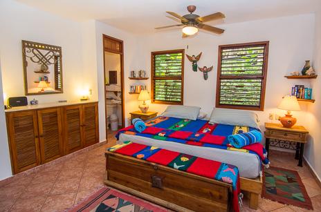 Master bedroom at Tropical Evergreen Soliman Bay vacation beach rental villa