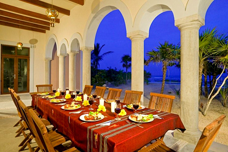 Outdoor patio dining at Hacienda Corazon luxury villa on the Riviera Maya