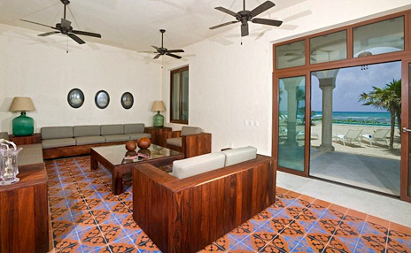 One of the living areas at Hacienda Corazon luxury rental home in Puerto Aventuras