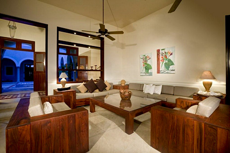 Living area at Hacienda del Mar luxury beach villa