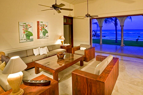 The living room at hacienda del Mar luxury villa overlooks the ocean