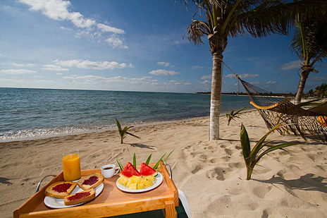 Have breakfast on the  beach at Hacienda Caracol  rental villa on Soliman Bay south of Akumal