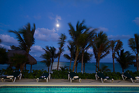 Evening pool and ocean view at Hacienda Caracol luxury  villa on the riviera Maya