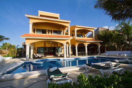 Swimming pool measures 45 feet by 21 feet  at Hacienda Caracol vacation rental villa  south of Akumal