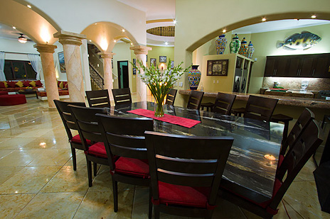 Dining room in Hacienda Caracol luxury villa on Soliman Bay