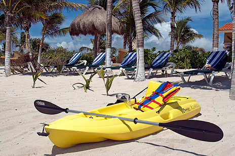 Sea kayaks are available for guest use at Hacienda Caracol vacation villa