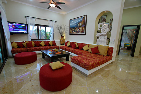 "Hacienda Carazol living room features a 50"" wide screen TV"