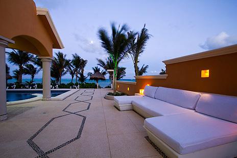 Outdoor patio area at luxury villa Hacienda Caracol south of Akumal on Soliman Bay