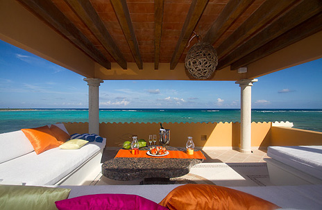 Rooftop views of Soliman Bay at Hacienda Caracol private rental villa