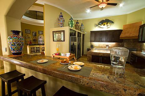 Lunch counter at Hacienda Caracol luxury rental villa south of Akumal