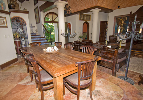 Dine inside or out at  Hacienda Kass  luxury vacation villa on Soliman Bay on the Riviera Maya south of Akumal