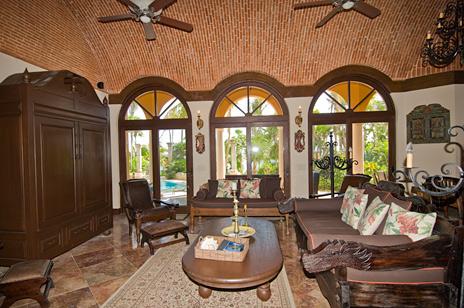 Living room in Hacienda Kass  luxury vacation villa on Soliman Bay on the Riviera Maya south of Akumal