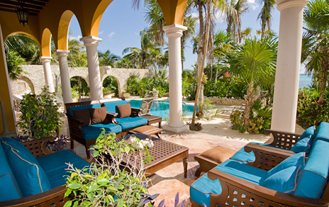 One of the patio areas at this luxury Akumal vacation rental villa on the Riviera Maya