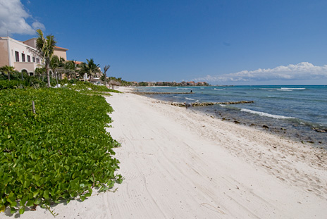Beach at Hacienda Kukulkan luxury villa in Puerto Aventuras
