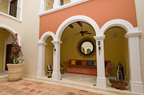 A sitting area in an alcove