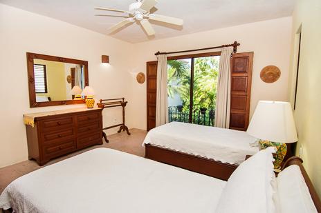 Bedroom of luxury vacation villa in South Akumal, Riviera Maya, Mexico