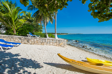 Sea kayaks on the beach at  Ka Kuxta vacation rental villa in South Akumal