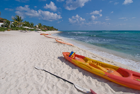 kayaks on the beach at Las Villas Akumal