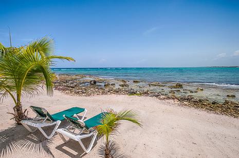 Beach of Villa Luminosa vacation rental villa on Tankah Bay, south of Akumal on Riviera Maya