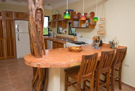 Kitchen lunch counter Villa Luminosa vacation rental villa south of Akumal Mexico
