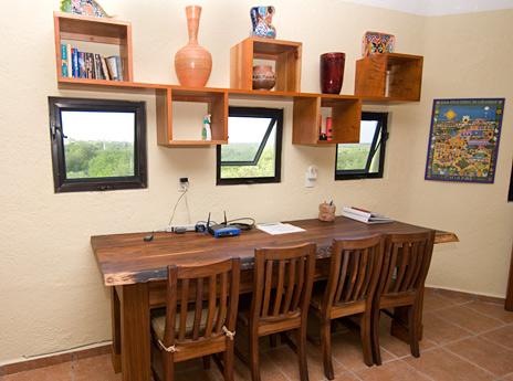 Computer workstation at Villa Luminosa vacation rental villa south of Akumal Mexico